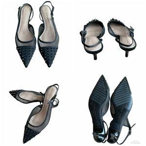 Zara Black studded mesh slingback heels 38